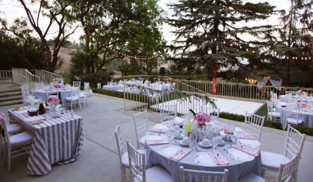 pink and gray table setting outdoors