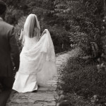 bride walking down a trail