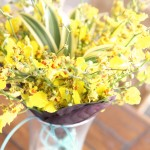display with yellow flowers