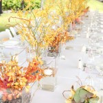 Kellogg House -close up of long table with fall color setup