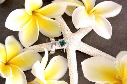 starfish with flowers and ring