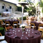 Kellogg House - table setup with maroon linens